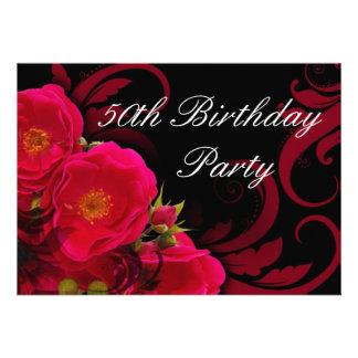 Fuchsia Garden Rose Women s 50th Birthday Party Personalized Invite