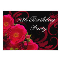Fuchsia Garden Rose Women's 50th Birthday Party Invitation