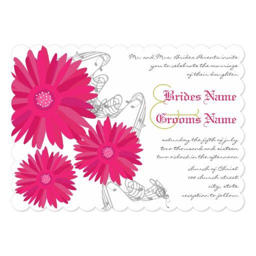 Fuchsia Gerber Daisy Wedding Invitation | Zazzle