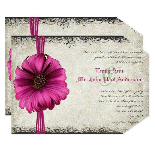 Hot Pink Gerbera Daisy White Wedding Invitation 5 X 7: Fuchsia Gerber Daisy Wedding Invite