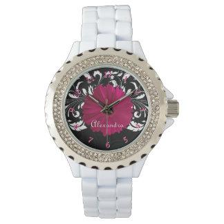 Fuchsia Gerbera Daisy Pink/Black Women's Wristwatch