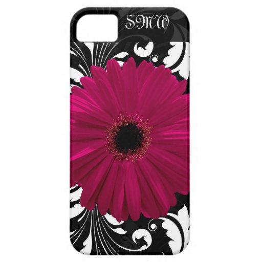 Fuchsia Gerbera Daisy with Black and White Swirl iPhone 5 Case