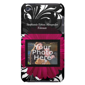 Fuchsia Gerbera Daisy with Black and White Swirl Barely There iPod Cases