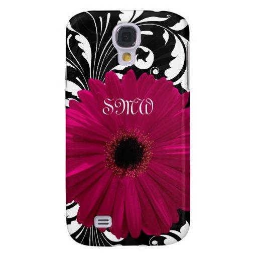 Fuchsia Gerbera Daisy with Black and White Swirl Galaxy S4 Case