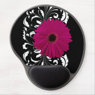 Fuchsia Gerbera Daisy with Black and White Swirl Gel Mouse Pad