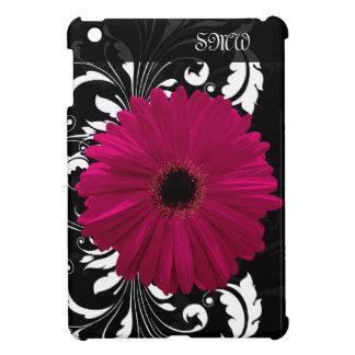 Fuchsia Gerbera Daisy with Black and White Swirl iPad Mini Cases
