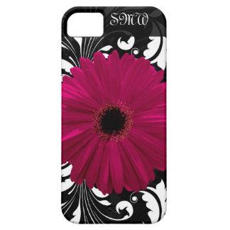 Fuchsia Gerbera Daisy with Black and White Swirl iPhone SE/5/5s Case