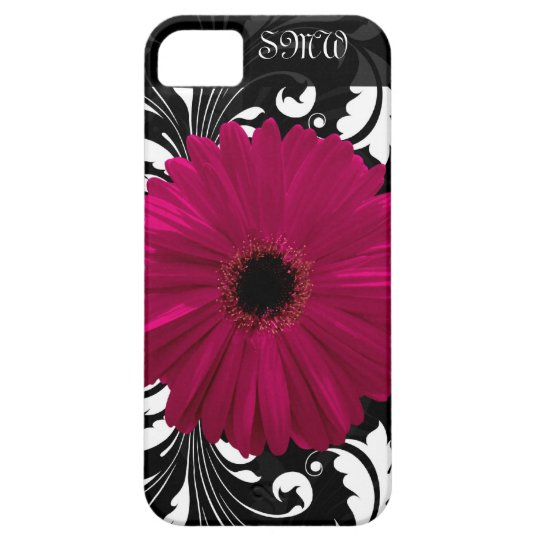 Fuchsia Gerbera Daisy with Black and White Swirl iPhone SE/5/5s Case