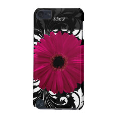 Fuchsia Gerbera Daisy With Black And White Swirl Ipod Touch 5g Cover at Zazzle