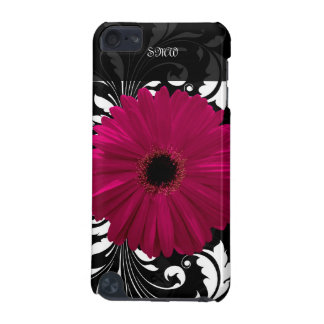 Fuchsia Gerbera Daisy with Black and White Swirl iPod Touch (5th Generation) Covers