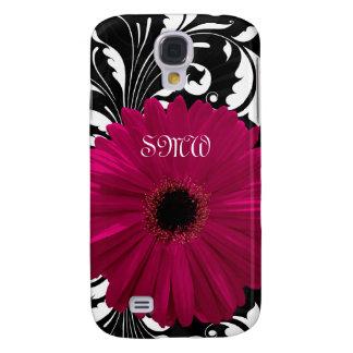 Fuchsia Gerbera Daisy with Black and White Swirl Samsung Galaxy S4 Case