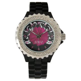 Fuchsia Gerbera Daisy with Black and White Swirl Wristwatch