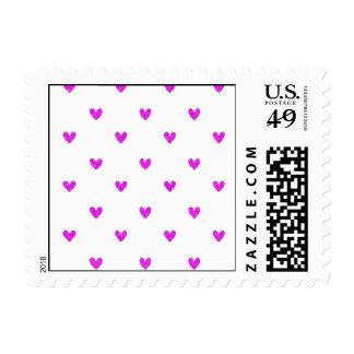 Fuchsia Glitter Hearts Pattern Postage Stamps