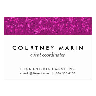 Fuchsia Glitter Look Hot Pink Sparkle Print Large Business Card
