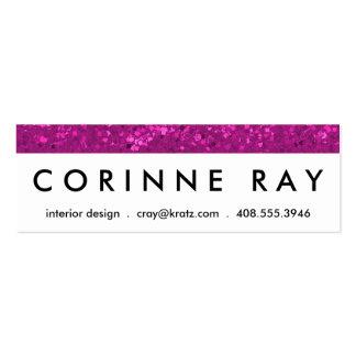 Fuchsia Glitter Look Hot Pink Sparkle Print Mini Business Card