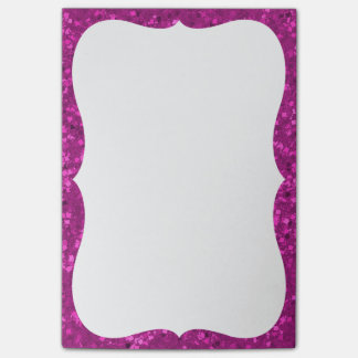 Fuchsia Glitter Look Hot Pink Sparkle Print Post-it® Notes