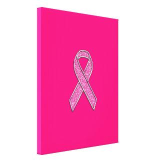 Fuchsia Glitter Style Pink Ribbon Awareness Canvas Print