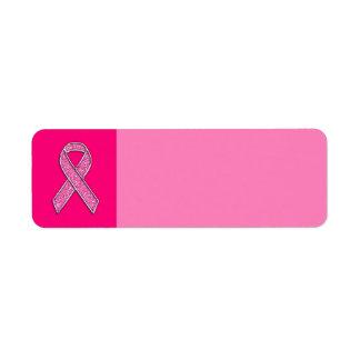 Fuchsia Glitter Style Pink Ribbon Awareness Label