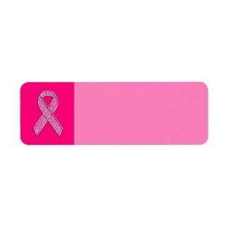 Fuchsia Glitter Style Pink Ribbon Awareness Label