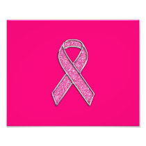 Fuchsia Glitter Style Pink Ribbon Awareness Photo Print