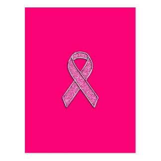 Fuchsia Glitter Style Pink Ribbon Awareness Postcard