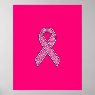 Fuchsia Glitter Style Pink Ribbon Awareness Poster