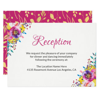 Fuchsia Gold Blossom Floral Wedding Reception Card