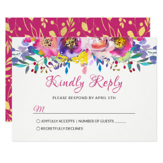 Fuchsia Gold Blossom Floral Wedding RSVP Card