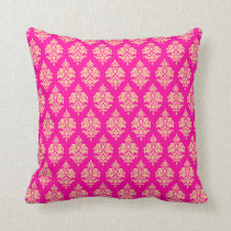 Fuchsia,Gold,Damask Pattern Throw Pillow
