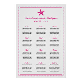 Fuchsia Graceful Starfish 24 x 36 Seating Chart