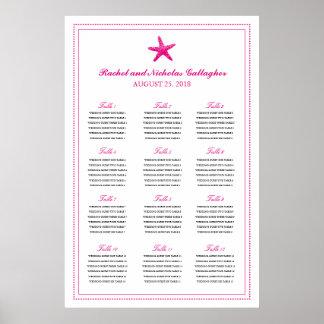 Fuchsia Graceful Starfish 24 x 36 Seating Chart Poster