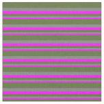 [ Thumbnail: Fuchsia, Gray & Dark Olive Green Colored Lines Fabric ]