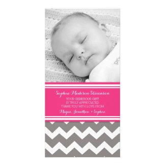 Fuchsia Gray Thank You Baby Shower Photo Cards