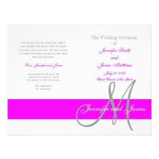 Fuchsia Gray Wedding Program | Monogram