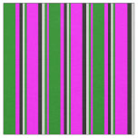 [ Thumbnail: Fuchsia, Green, Light Grey, and Black Stripes Fabric ]