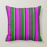 [ Thumbnail: Fuchsia, Green, Light Grey, and Black Stripes Throw Pillow ]
