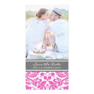 Fuchsia Grey Save the Date Wedding Photo Cards