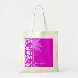 Fuchsia Hawaiian Tropical Hibiscus; Palm Budget Tote Bag