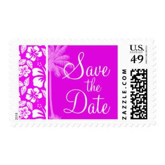 Fuchsia Hawaiian Tropical Hibiscus; Palm Postage Stamp