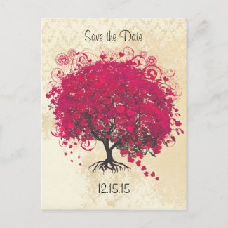 Fuchsia Heart Leaf Tree Wedding Save The Date postcard