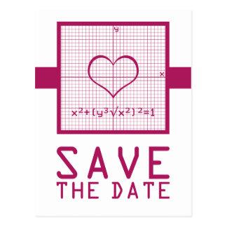 Fuchsia Heart Math Graph Save the Date Postcard