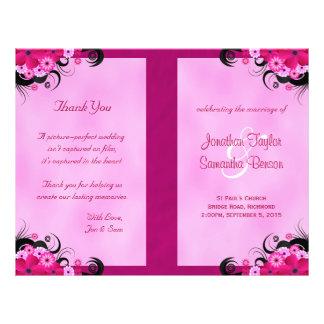 "Fuchsia Hibiscus Floral Wedding Program Templates 8.5"" X 11"" Flyer"