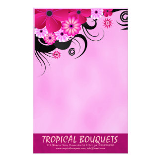 Fuchsia Hibiscus Florist Stationery Writing Paper Personalized Stationery