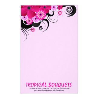 Fuchsia Hibiscus Florist Stationery Writing Paper