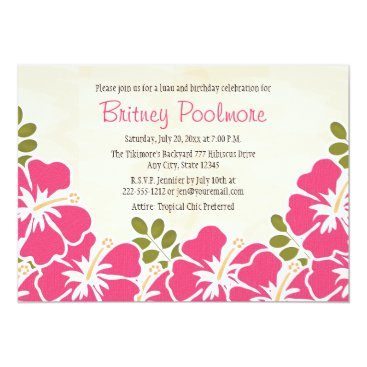Beach Themed Fuchsia Hibiscus Hawaiian Birthday Party Card