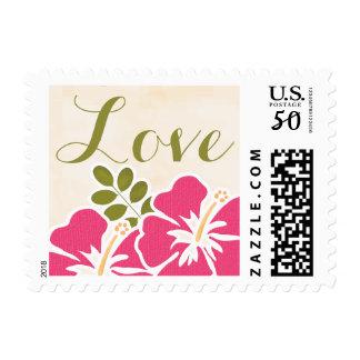 Fuchsia HIbiscus Hawaiian Love Wedding Stamp