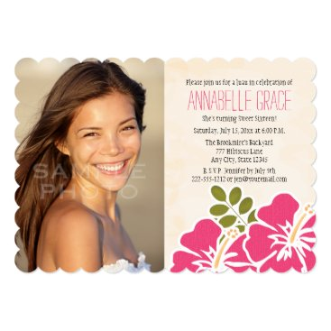 Beach Themed Fuchsia Hibiscus Hawaiian Luau Sweet 16 Photo Card