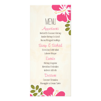 Fuchsia Hibiscus Hawaiian Menu Cards