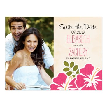 Beach Themed Fuchsia Hibiscus Hawaiian Save the Date Postcards