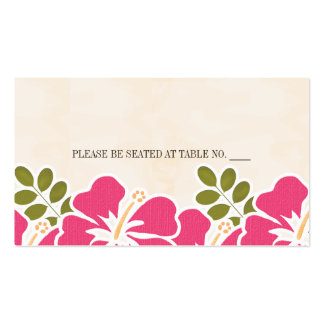 FUCHSIA HIBISCUS HAWAIIAN SEATING PLACE CARD BUSINESS CARD